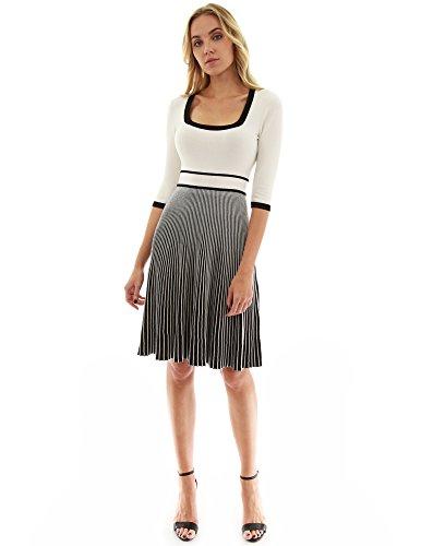 PattyBoutik Damen Strickkleid mit Rundhalsausschnitt und 3/4 Ärmeln (elfenbein und schwarz XS 34)