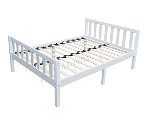 FOXHUNTER WestWood 4FT6 Double Size Wooden Bed Frame Solid Pine White Bedroom Furniture Home Guests Adult Kids Children Room Modern No Mattress PWB02