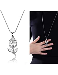 Yellow Chimes A5 Grade Crystal Fresh Bud White Crystal Long Chain Pendant For Women & Girls