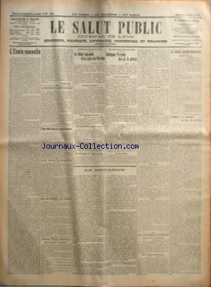 SALUT PUBLIC (LE) [No 214] du 02/08/1919 - L'ECOLE NOUVELLE PAR A VULLIOD - LA FRANCE ET L'APRES-GUERRE PAR M-LACROIX - POUR LES FAMILLES NOMBREUSES - EN MACEDOINE - LES ALLEMANDS EN SUISSE - PETITES NOTES SOCIALES - POUR ENCOURAGER LEA MATERNISE - AUTOUR DU TRAITE DE PAIX - LE SENAT ESPAGNOL ET LA LIGUE DES NATIONS - AU SENAT AMERICAINS - LES ALLEMANDS AU BRESIL - LES COMPENSATIONS PROMISES A L'ITALIE - UNE NOTE BULGARE - LES COMMISSIONS DU CONSEIL SUPREME - LES SOUVENIRS D'UN JUSTICIER - QUEL