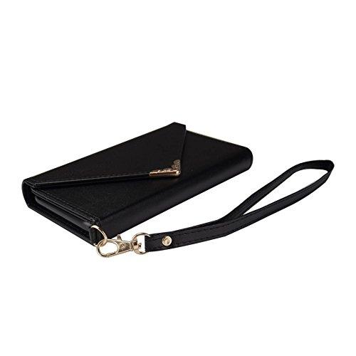 inShang Custodia per iPhone X 5.8 inch con design integrato Portafoglio, iPhoneX 5.8inch case cover con funzione di supporto. black