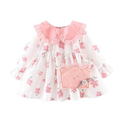 Proumy Baby Mädchen Mode Lange Ärmel Blumendruck Print Kleid Kleinkind Rüschen Ärmel Kleider Outfit+niedlicher Tasche Set 2 Stücke(Rosa,Recommended Age:6-12 Months) -