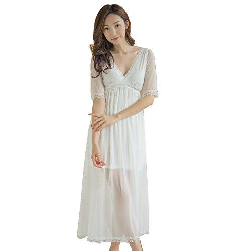 QLX Frauen Casual Nachthemd Square Hals kurze Ärmel Lace Lange Schlafsack Nachtwäsche Weiß -