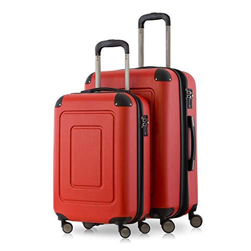 Happy Trolley - 2er Koffer-Set Trolley-Set Rollkoffer Hartschalen-Koffer Reisekoffer Lugano sehr leicht, TSA, (S+M), Rot