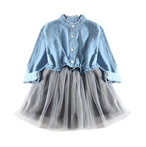 HUIHUI Denim Prinzessin Lange Ärmel Kleid Mädchen Billig Sommer Herbst Party Petticoat Kleid Casual Tutu Rock CowboyCocktailkleid Verrückte, 0-7 Jahr (140 (6-7Jahr), ()