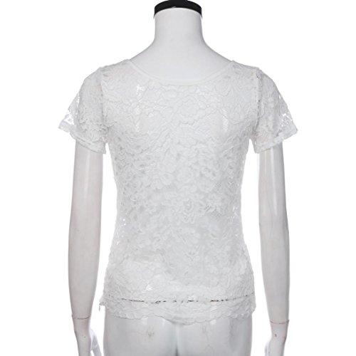 WOCACHI Damen Sommer Tops Mode Frauen reizvolle kurze Hülse O-Ansatz Bluse Perspektive Blumen Spitze T-Shirt Tops Weiß Weiß