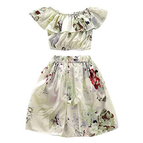 Julhold Kleinkind Kind Baby Mädchen Elegant Schulterfrei Floral Lose Druck Rüschen Oberteile Röcke 2PC Outfits 0-4 Jahre Floral Baby Doll Tee