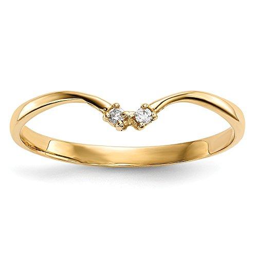 Diamond2deal Ringschutz, 14 Karat Gelbgold, Zirkonia, Rundschliff, 2 Steine -