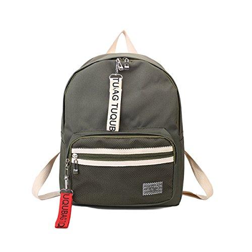 FZHLY Arts Canvas Shoulder Bag Solido Di Colore Zaino Di Svago Impermeabile,Khaki Green