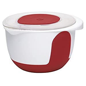 508019 Mix and Bake calibrated plastic mixing bowl with lid, 3.0 litres, red/white
