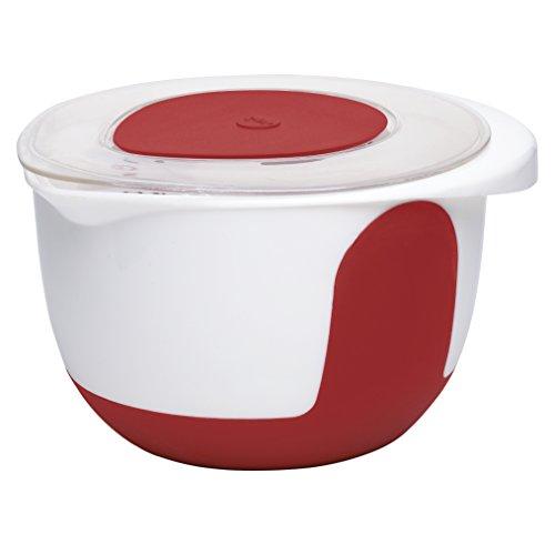 Emsa MIX & BAKE Bol à mixer avec couvercle 3l blanc/rouge