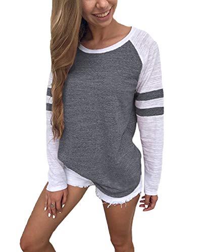 YOINS Pulli Damen Langarmshirt Sweatshirt mit Streifen Rundhals Ausschnitt Oversize Hemd Jumper Bluse Tops Streifen-dunkelgrau EU40-42