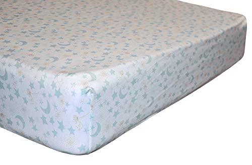 Soulwell Bebé Sábana de cuna de algodón orgánico Súper Respirable Suave Colorido Calidad Premium GOTS Cuna de guardería Ropa de cama para niños pequeños Sábana ajustable 71 x 132 x 23 cm (Estrellas)