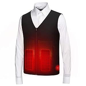 DZX Elektrische Heizweste/Elektrische Warme Kleidung , Kann Warm Gewaschen Werden , Mit USB-Kabel (Unisex/Schwarz),Men-2XL