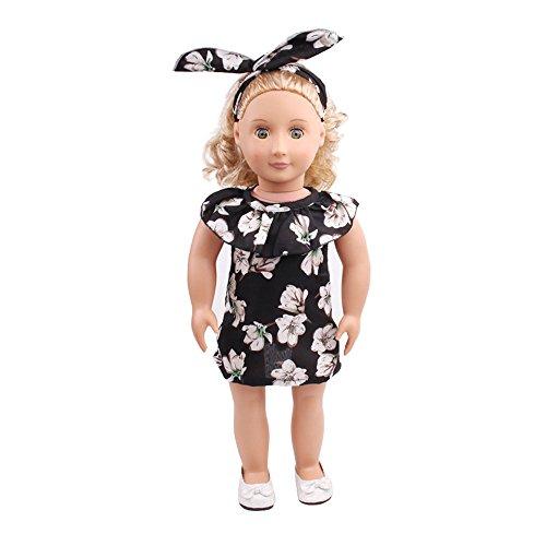 Vestido Floral Estampado con Volantes Moda + Diadema de Conejo para 18 Pulgadas Muñeca Americana Chica Gusspower