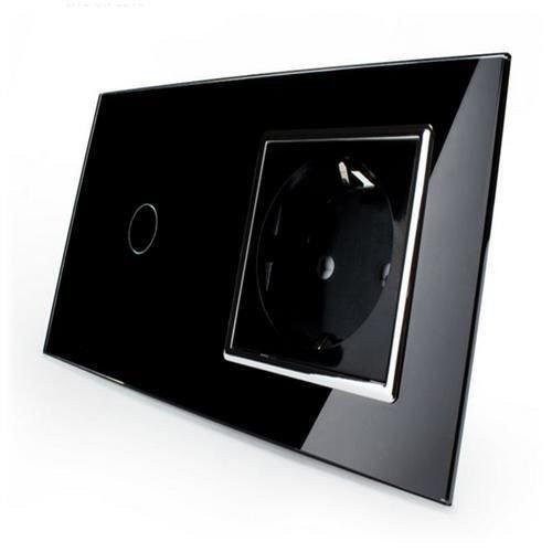 Kombination Design Glas Touch Lichtschalter 1 fach und Glas 1 fach Steckdose schwarz