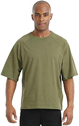 Pizoff Unisex Hip Hop luxury T shirts with green green pattern army Bundeswehr loose fit casual Y1745-06-XXL