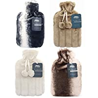 2 Litre Hot Water Bottle with Luxury Fluffy Fur Cover | Large 2L Capacity with Removable Fleece Covers (Random Pick)