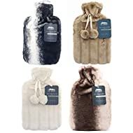 2 Litre Hot Water Bottle with Luxury Fluffy Fur Cover   Large 2L Capacity with Removable Fleece Covers (Random Pick)