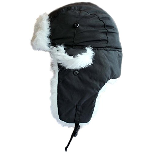 Black With White Fur Trapper Hat Fur Lined Russian Cossack Ski Hat