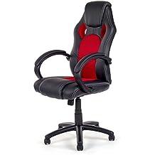 Silla de Oficina Silla de Escritorio Gaming Racing giratorio Recubrimiento de PU Reposabrazos Asiento ajustable diseño Negro/Rojo V8 de MY SIT