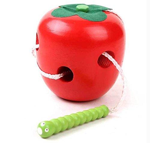 Vi.yo Spaß Niedlich Threading-Worm, aus Holz, für Kinder und Spielzeug rot rot Approx 6*8.5cm (Holz-threading)