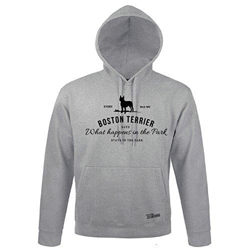 Boston Terrier Kapuzen Sweatshirt (Siviwonder Unisex Kapuzen Sweatshirt BOSTON TERRIER VINTAGE LOGO fun Hund heather grey - schwarz 3XL)