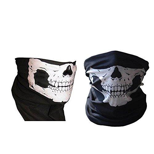 Pack (2) Cosplay Maske Skelett Ghost Face Maske Skull Biker Sturmhaube (Ghost Kostüm Face)