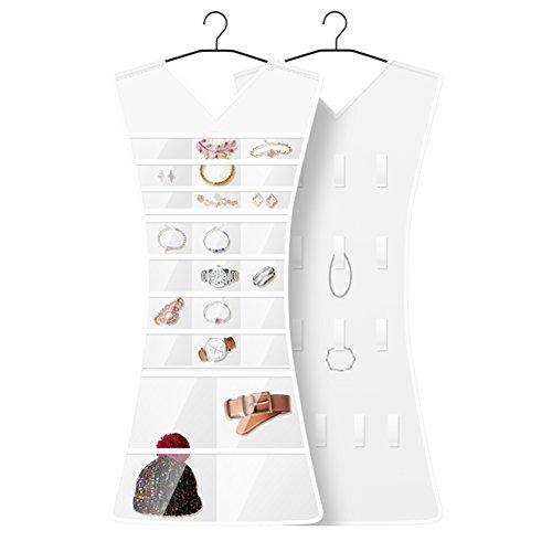 Wand-make-up Veranstalter Große (Nclon Schmuck hängetasche,Transparent Exquisit Doppelseitiges design Rock-stil Oxford stoff Multifunktion Ring Ohrring Halskette Schmuck Schmuck-veranstalter-A 110*45*1.5cm)