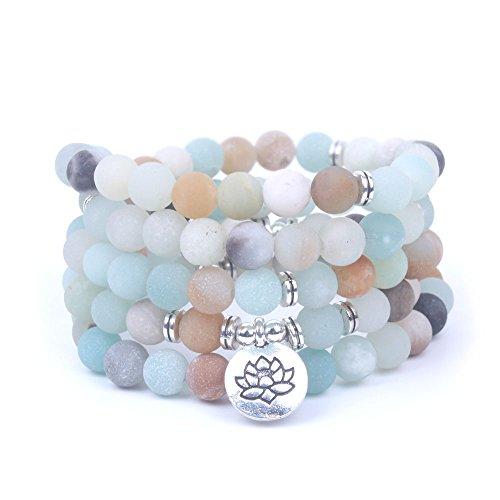 Art- und Weisefrauen `s Armband Matte bereifte Amazonite-Korne mit Lotus OM Buddha Charme-Yoga-Armband 108 mala Halskette dropshipping (Lotus)