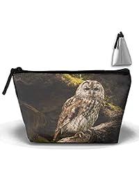 Animal búho pájaro Stare pintura maquillaje bolsa portátil de viaje bolsas de cosméticos Durable impermeable trapezoidal