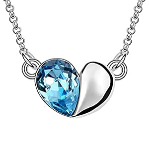 Peora Valentine Gift Swarovski Crystal Blue Heart Shaped Pendant Necklace Jewellery for Women & Girls (PFCP2051)