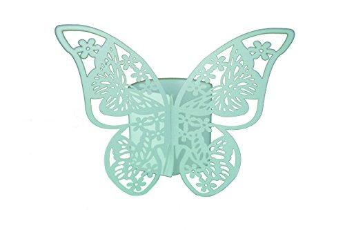 Elfenstall Servietten-Ringe 12 Stück für Papierservietten in verschiedenen Farben und Motiven (Schmetterling, Türkis)