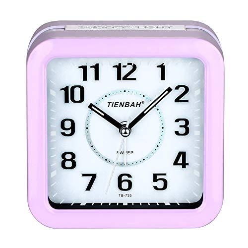PINGHE Wecker, Leise Analoger Wecker Quadratische Form Nachttisch Alarm Wecker mit Nachtlicht Lila (Wecker Lila)