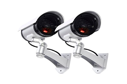 Maxesla - telecamera di sicurezza finta con led illuminati, confezione da 2 pezzi, effetto realistico, per interni ed esterni, impermeabile + adesivo di avvertimento