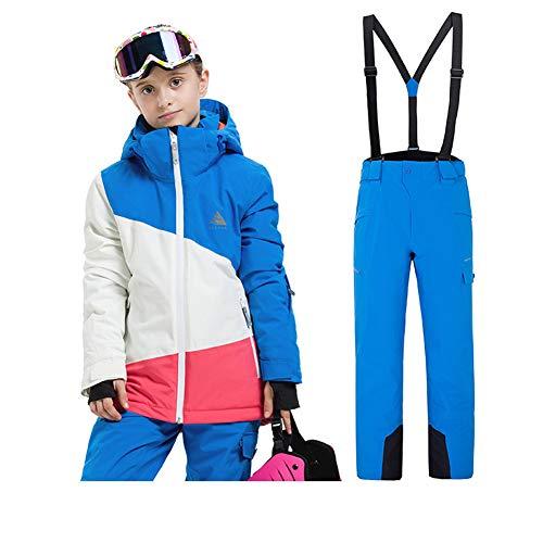 LPATTERN Kinder Jungen/Mädchen 2 Teilig Skianzug Schneeanzug(Skijacke+ Skihose), Blau-Weiß-Rosa Jacke+ Blau Trägerhose für Mädchen, Gr. 116(Herstellergröße: 120) | 08712129537863