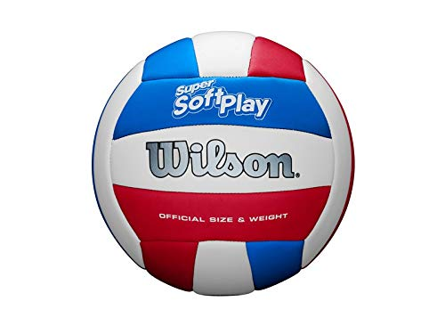 Wilson Super Soft Play VB WHRDBLUE Volleyball, Unisex-Adult, White/Red/Blue, Official