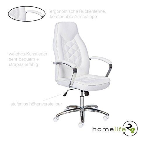 H24living Bürostuhl Chefsessel Bürodrehstuhl Drehstuhl hoher Sitzkomfort im Büro weiss chrom...