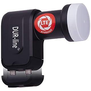 DUR-line +Ultra Twin LNB - 2 Teilnehmer schwarz - mit LTE-Filter [ Test SEHR GUT *] 2-Fach, digital mit Wetterschutz, Full HD, 4K,Premium-Qualität