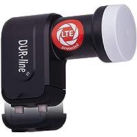 DUR-line +Ultra Twin LNB - 2 Teilnehmer schwarz - mit LTE-Filter - Test SEHR GUT - 2-Fach, digital, Full HD, 4K, 3D, Sieger - Premium-Qualität