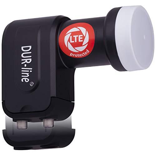 DUR-line +Ultra Twin LNB - 2 Teilnehmer schwarz - mit LTE-Filter [ Test SEHR GUT ] 2-Fach, digital, Full HD, 4K, 3D, Sieger - Premium-Qualität