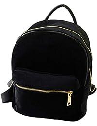 Malloom Bolso de hombro de mujer oro terciopelo pequeña mochila mochila escuela libro