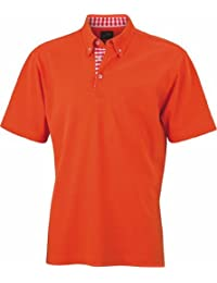 James & Nicholson - Polo - Manches courtes - Homme -  Multicolore - Multicoloured - Dark Orange/Dark Orange/White - Large