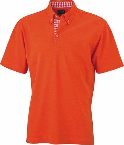 James+Nicholson Plain Poloshirt mit modischem Karoeinsatz JN 964 Dark Orange/Dark Orange/White