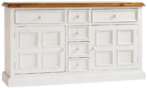 Robas Lund, Sideboard, Kommode,  Bodde, Kiefer/Massivholz/weiß/honigfarben, 160 x 91 x 45 cm, FH302003 -