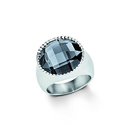 s.Oliver Damen-Ring Edelstahl Glas 50824, Schwarz/ Silber, 56