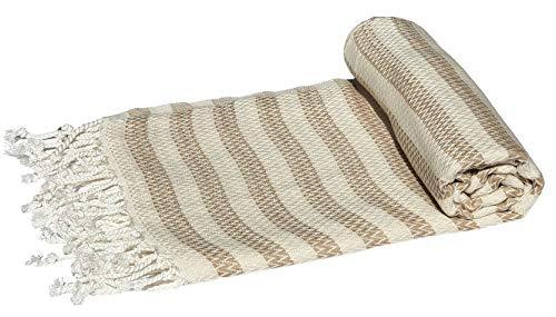 bella casa Ibiza Hamamtuch Saunatuch Pestemal Fouta Strandtuch Badetuch Handtuch Baumwolle Backpacker 100x180 cm (Bronze) - Bronze Badetuch