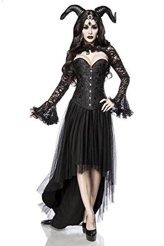 5 tlg. Dämon Teufel Gothic Vampir Kostüm Damenkostüm Halloween Schwarz Queen Set