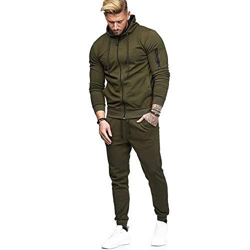 Von Tasche M&ms Kostüm - MIRRAY Herren Herbst Patchwork Reißverschluss Taschen Sweatshirt Top Hosen Sets Sport Anzug Trainingsanzug
