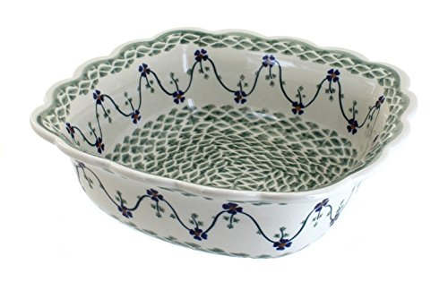 polish-pottery-sage-floral-medium-square-serving-dish-by-blue-rose-pottery